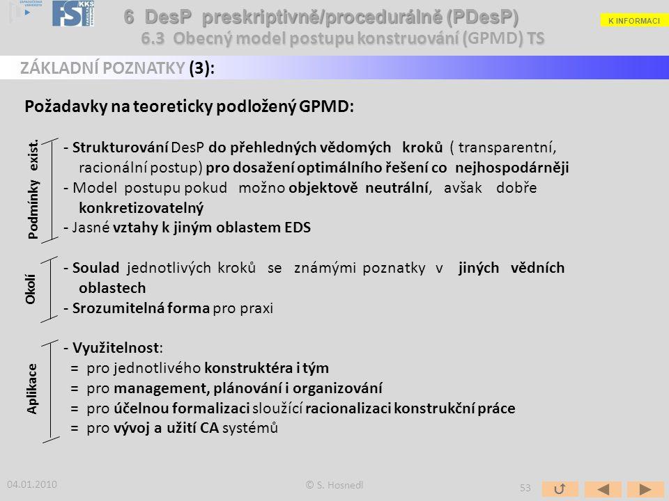 Požadavky na teoreticky podložený GPMD: - Strukturování DesP do přehledných vědomých kroků ( transparentní, racionální postup) pro dosažení optimálníh