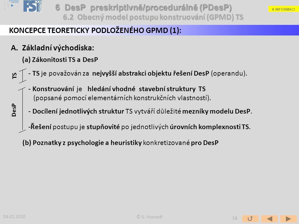 A. Základní východiska: (a) Zákonitosti TS a DesP - TS je považován za nejvyšší abstrakci objektu řešení DesP (operandu). - Konstruování je hledání vh