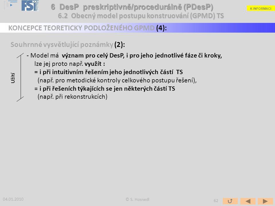 Souhrnné vysvětlující poznámky (2): - Model má význam pro celý DesP, i pro jeho jednotlivé fáze či kroky, lze jej proto např. využít : = i při intuiti