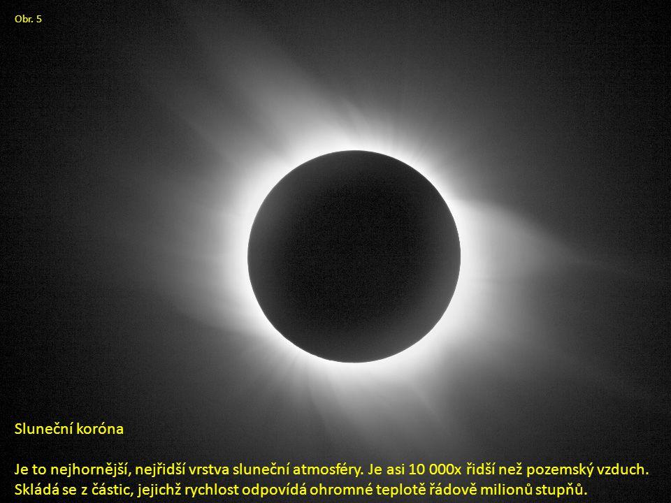 Obr. 5 Sluneční koróna Je to nejhornější, nejřidší vrstva sluneční atmosféry.
