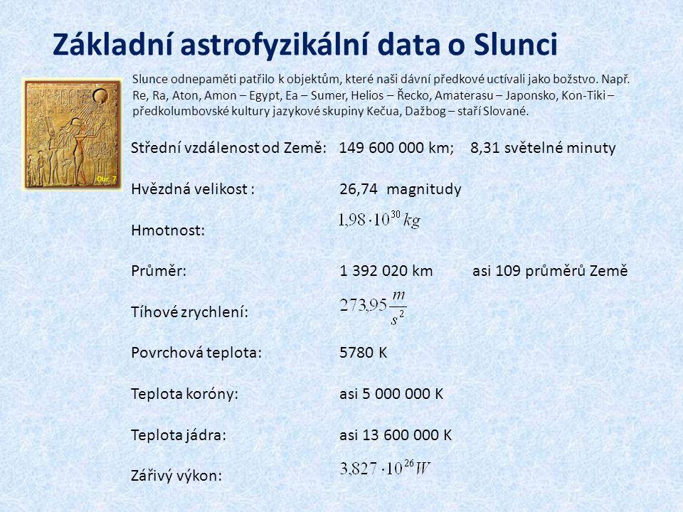 Základní astrofyzikální data o Slunci Slunce odnepaměti patřilo k objektům, které naši dávní předkové uctívali jako božstvo.