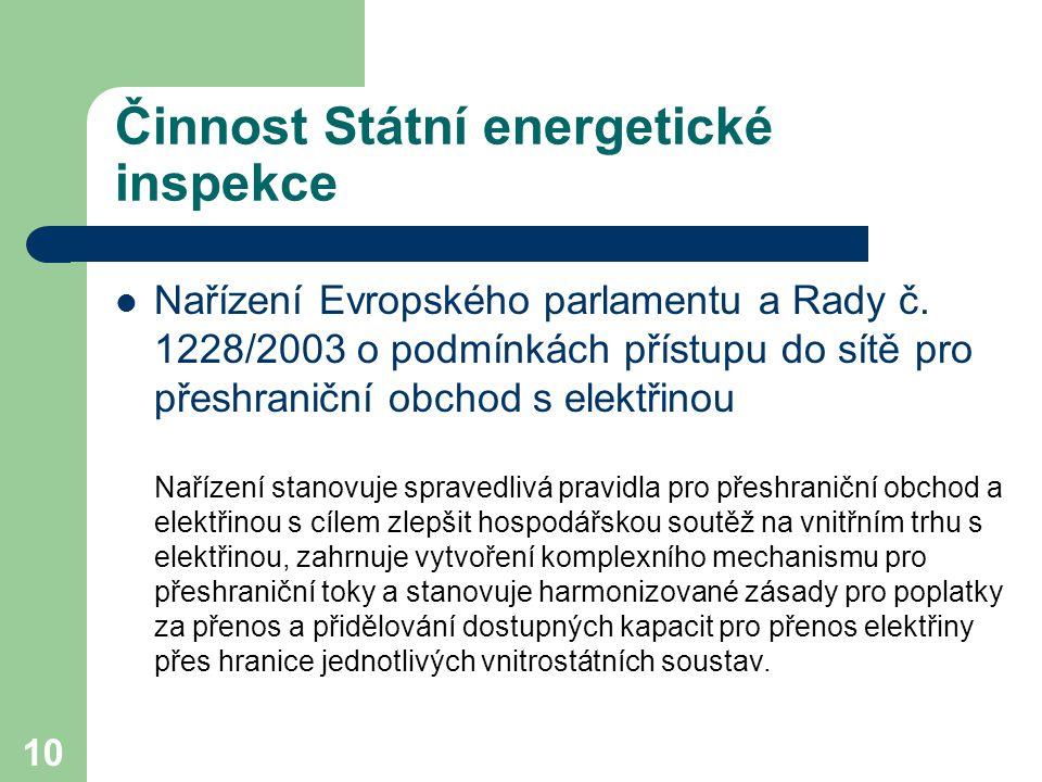 10 Činnost Státní energetické inspekce Nařízení Evropského parlamentu a Rady č.