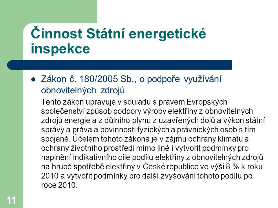 11 Činnost Státní energetické inspekce Zákon č.