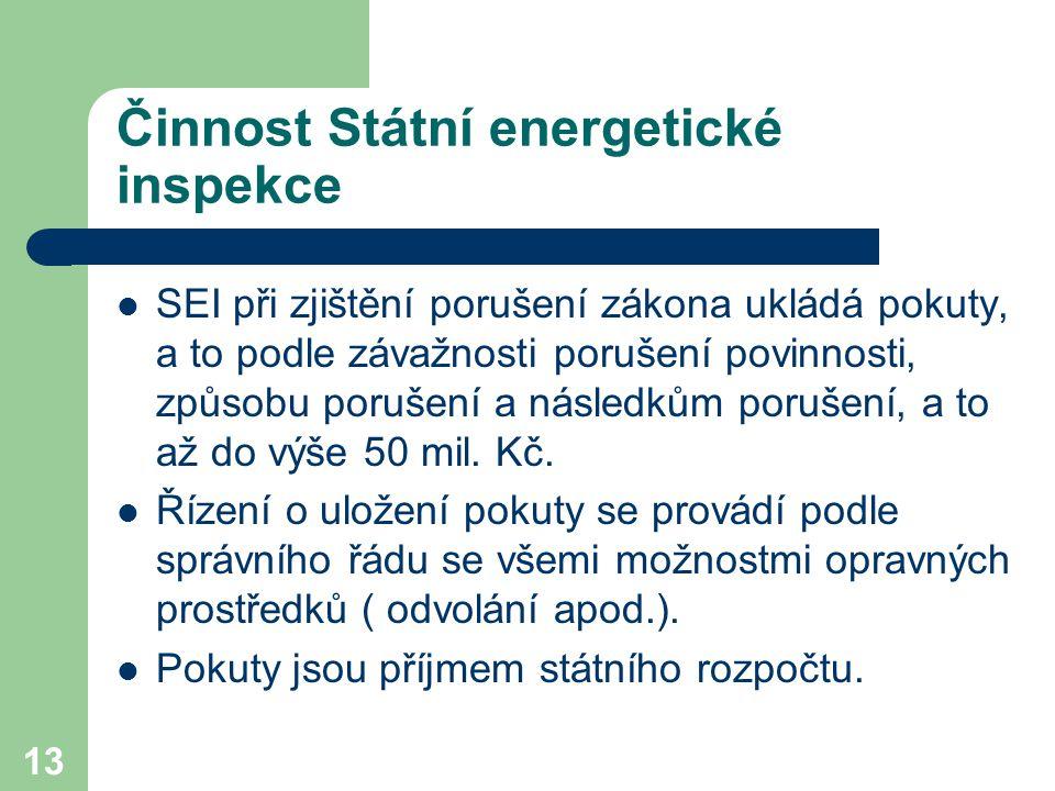 13 Činnost Státní energetické inspekce SEI při zjištění porušení zákona ukládá pokuty, a to podle závažnosti porušení povinnosti, způsobu porušení a následkům porušení, a to až do výše 50 mil.