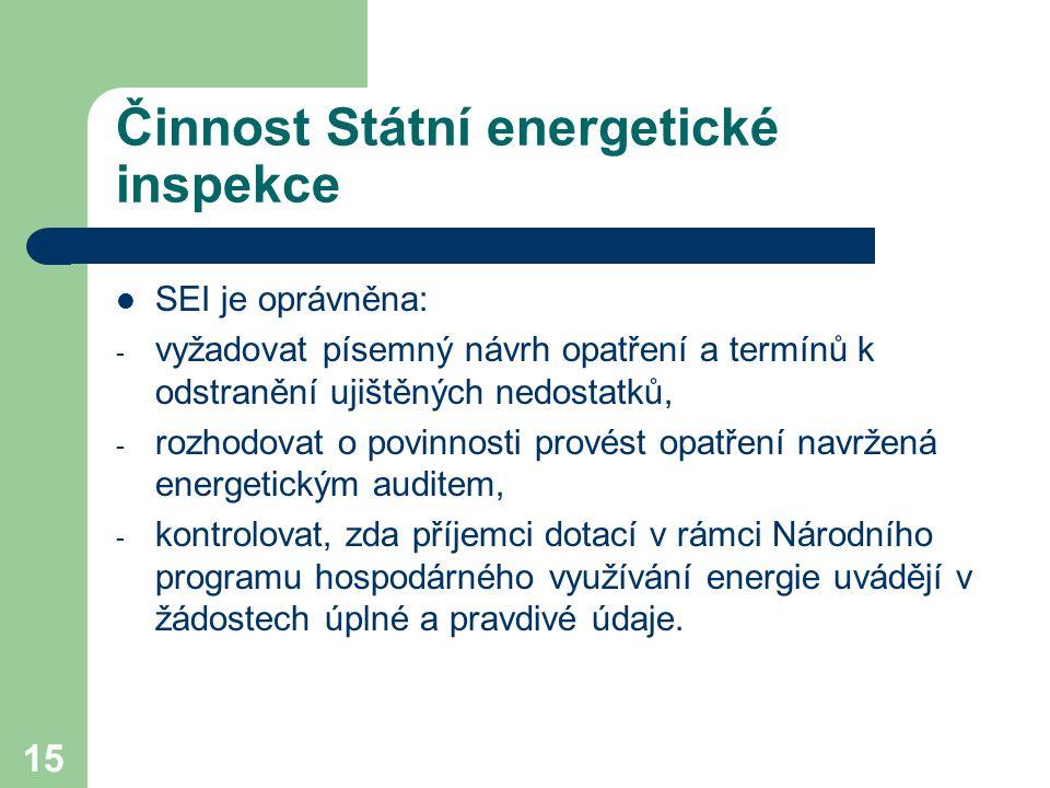 15 Činnost Státní energetické inspekce SEI je oprávněna: - vyžadovat písemný návrh opatření a termínů k odstranění ujištěných nedostatků, - rozhodovat o povinnosti provést opatření navržená energetickým auditem, - kontrolovat, zda příjemci dotací v rámci Národního programu hospodárného využívání energie uvádějí v žádostech úplné a pravdivé údaje.
