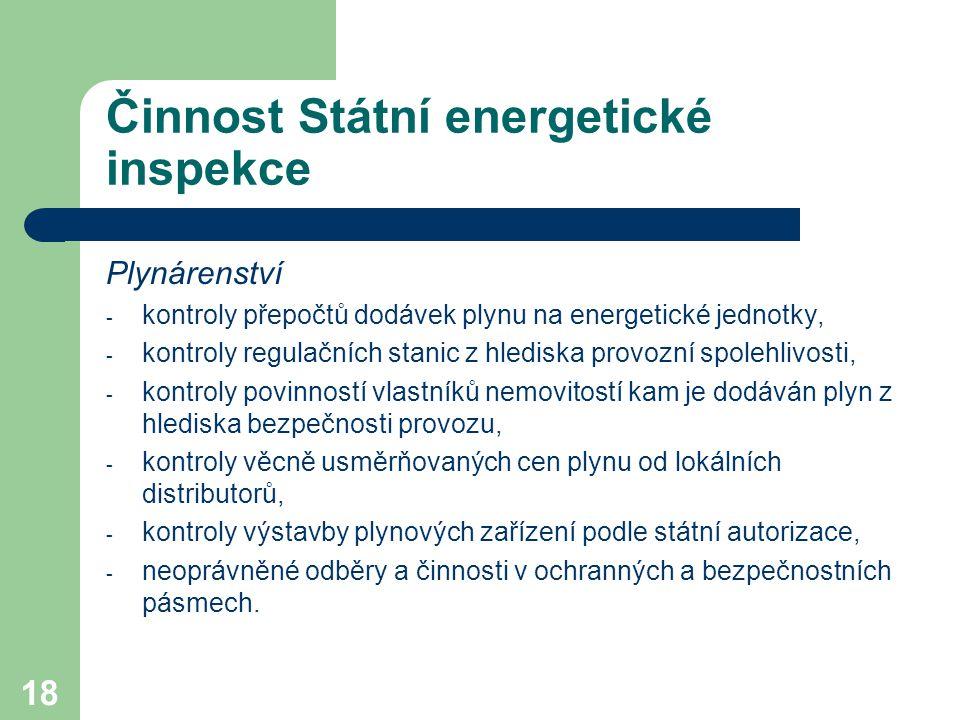 18 Činnost Státní energetické inspekce Plynárenství - kontroly přepočtů dodávek plynu na energetické jednotky, - kontroly regulačních stanic z hlediska provozní spolehlivosti, - kontroly povinností vlastníků nemovitostí kam je dodáván plyn z hlediska bezpečnosti provozu, - kontroly věcně usměrňovaných cen plynu od lokálních distributorů, - kontroly výstavby plynových zařízení podle státní autorizace, - neoprávněné odběry a činnosti v ochranných a bezpečnostních pásmech.