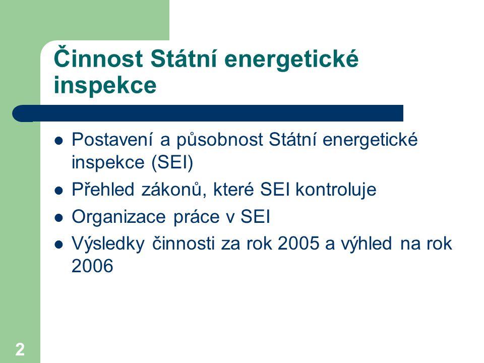 2 Činnost Státní energetické inspekce Postavení a působnost Státní energetické inspekce (SEI) Přehled zákonů, které SEI kontroluje Organizace práce v SEI Výsledky činnosti za rok 2005 a výhled na rok 2006
