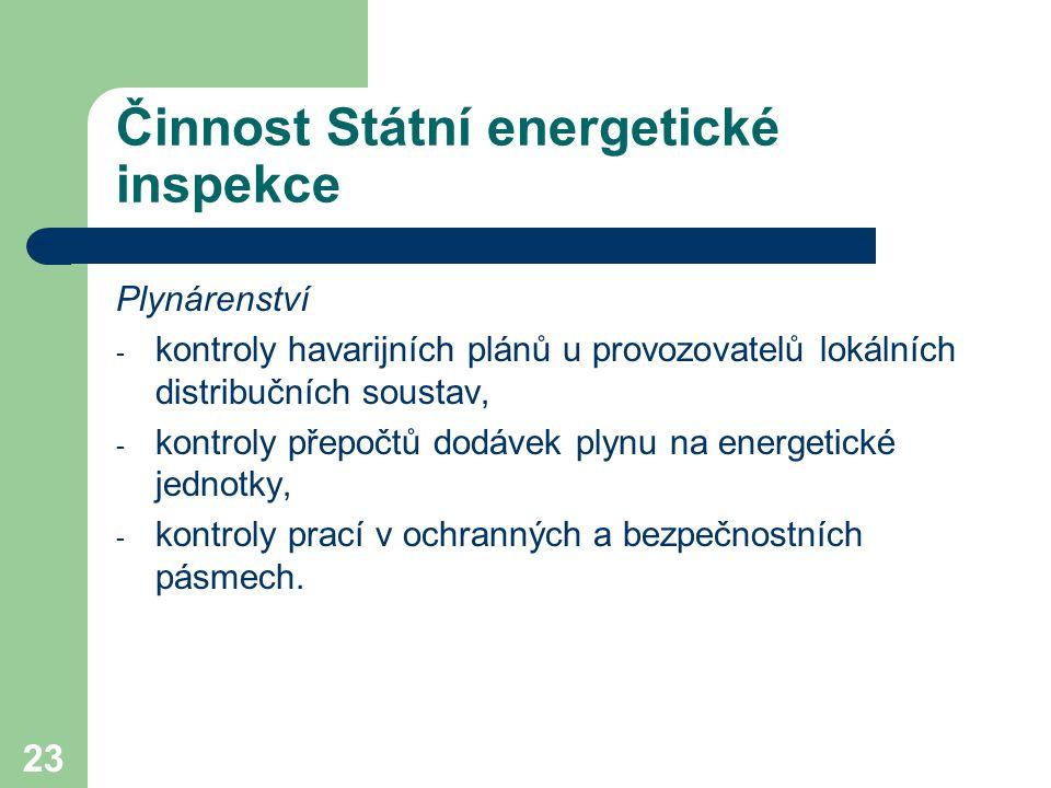 23 Činnost Státní energetické inspekce Plynárenství - kontroly havarijních plánů u provozovatelů lokálních distribučních soustav, - kontroly přepočtů dodávek plynu na energetické jednotky, - kontroly prací v ochranných a bezpečnostních pásmech.