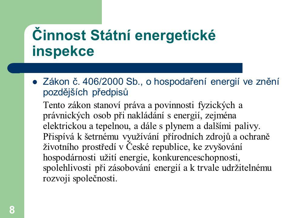 9 Činnost Státní energetické inspekce Zákon č.526/1990 Sb., o cenách a zákon č.