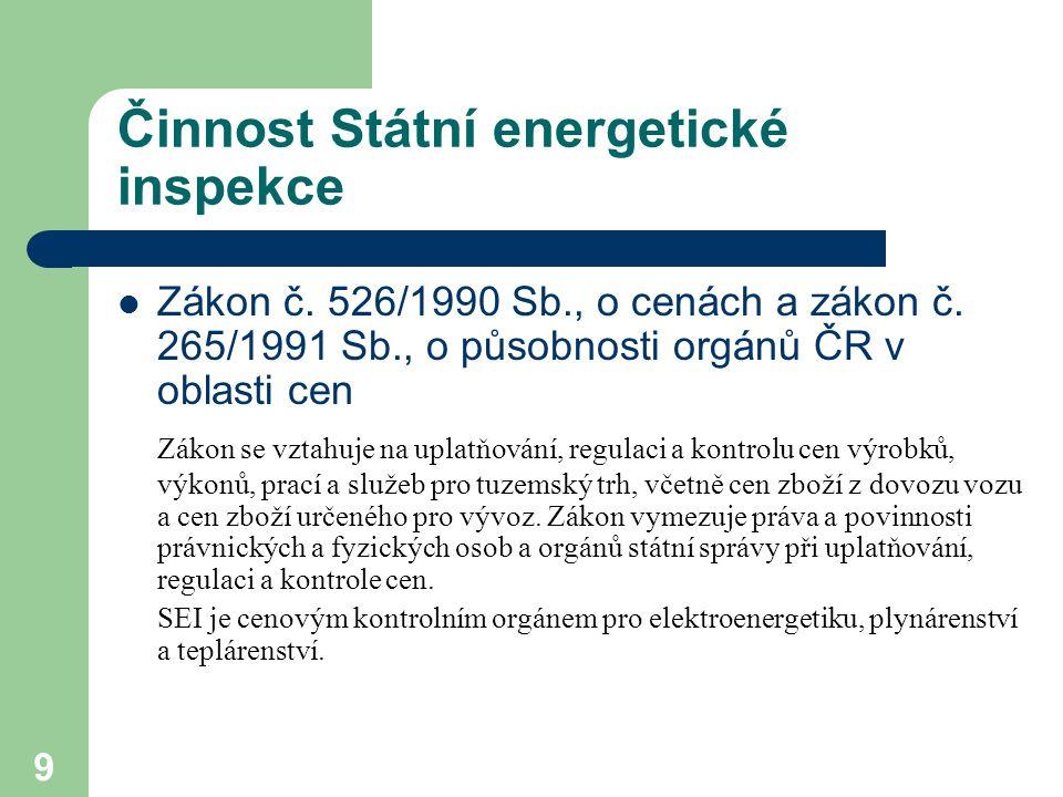 9 Činnost Státní energetické inspekce Zákon č. 526/1990 Sb., o cenách a zákon č.