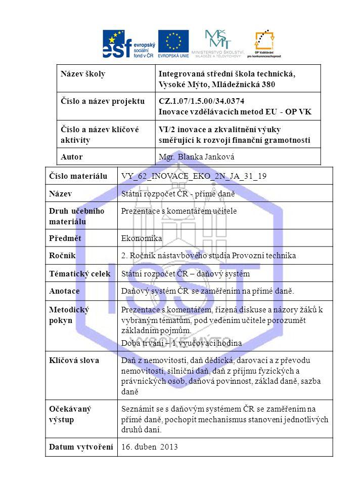 Státní rozpočet ČR Přímé daně