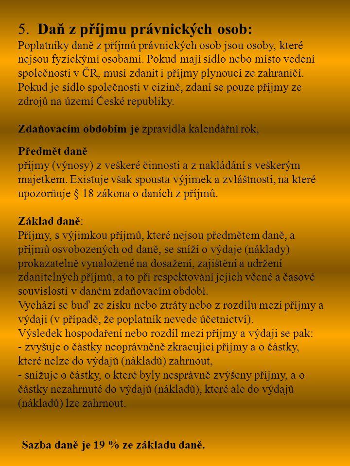 Zdroje informací: http://cs.wikipedia.orgt http://www.financnivzdelavani.cz Sbírka zákonů ČR