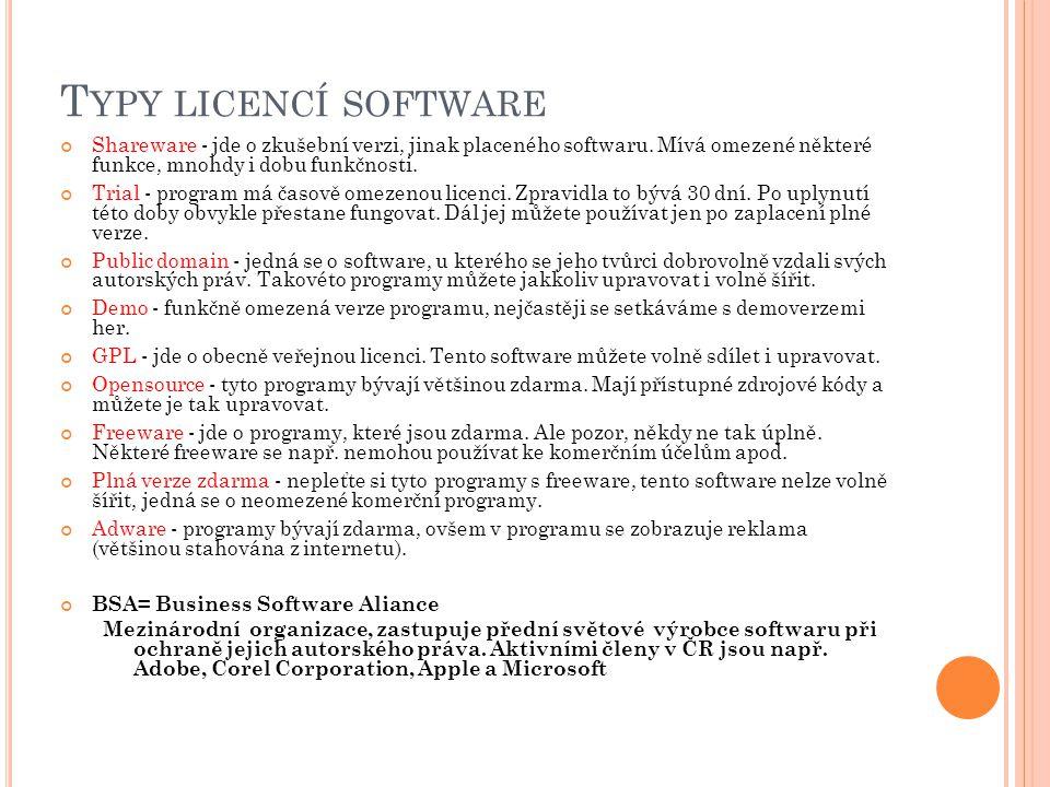 T YPY LICENCÍ SOFTWARE Shareware - jde o zkušební verzi, jinak placeného softwaru. Mívá omezené některé funkce, mnohdy i dobu funkčnosti. Trial - prog