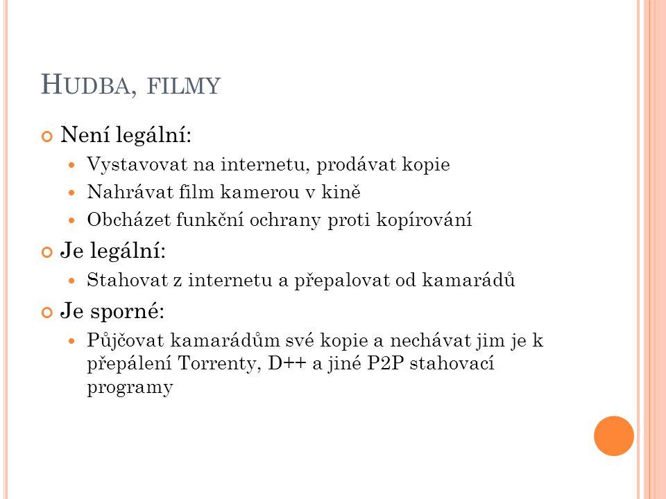 H UDBA, FILMY Není legální: Vystavovat na internetu, prodávat kopie Nahrávat film kamerou v kině Obcházet funkční ochrany proti kopírování Je legální: