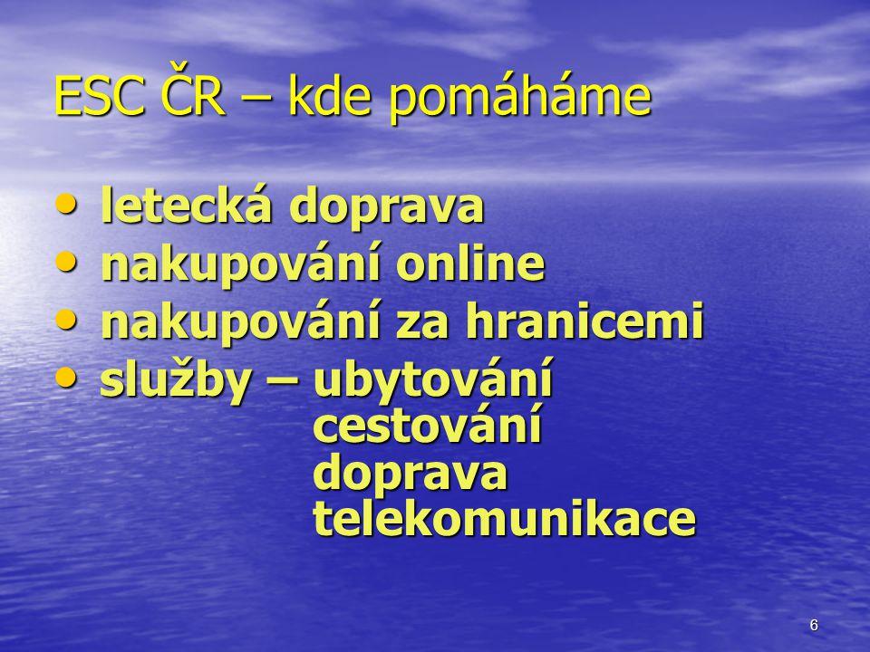 6 ESC ČR – kde pomáháme letecká doprava letecká doprava nakupování online nakupování online nakupování za hranicemi nakupování za hranicemi služby – ubytování cestování doprava telekomunikace služby – ubytování cestování doprava telekomunikace