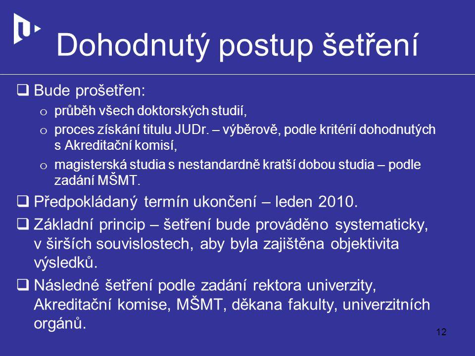 Dohodnutý postup šetření  Bude prošetřen: o průběh všech doktorských studií, o proces získání titulu JUDr.