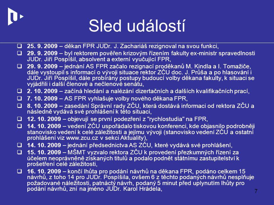 Sled událostí  25. 9. 2009 – děkan FPR JUDr. J.