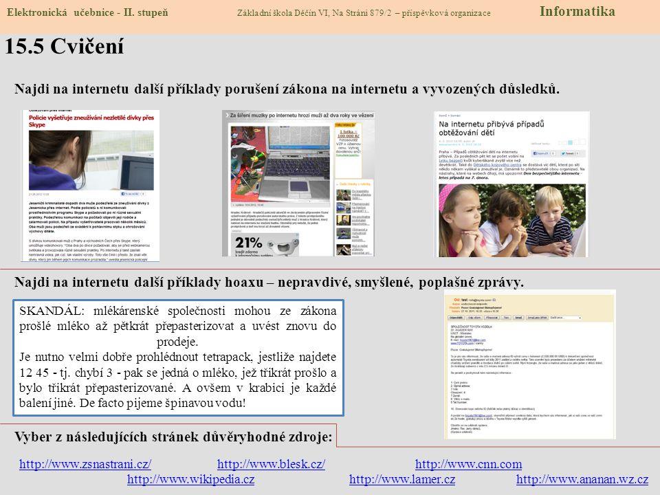 15.4 Na co si dávat na internetu pozor Elektronická učebnice - II.