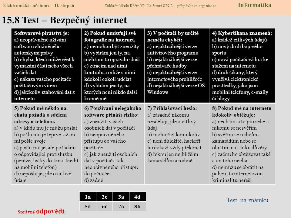15.7 CLIL – Internet Safety Basics Elektronická učebnice - II.