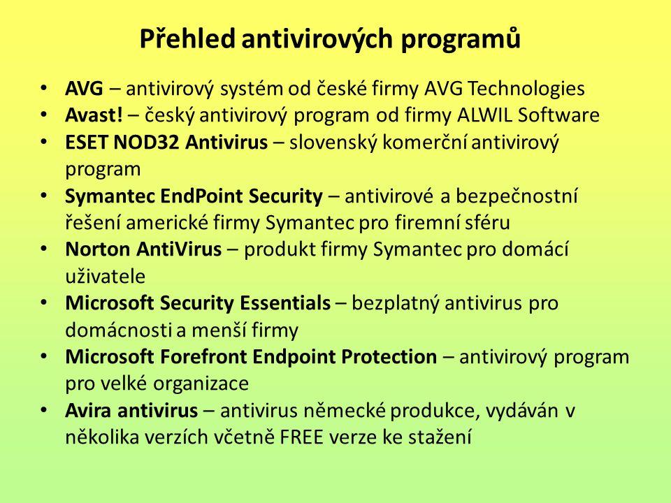 AVG – antivirový systém od české firmy AVG Technologies Avast! – český antivirový program od firmy ALWIL Software ESET NOD32 Antivirus – slovenský kom