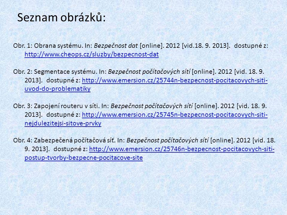 Seznam obrázků: Obr. 1: Obrana systému. In: Bezpečnost dat [online]. 2012 [vid.18. 9. 2013]. dostupné z: http://www.cheops.cz/sluzby/bezpecnost-dat ht