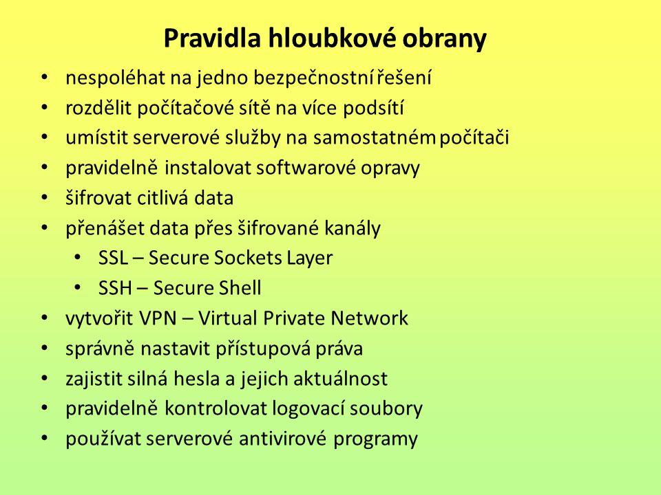 hloubková obrana není postavena pouze na zapojení několika firewallů od různých výrobců za sebou nutné je rozdělení sítě na několik logických celků podstatou této myšlenky je rozdělení jednotlivých počítačů do samostatných podsítí každá obsahuje servery nebo klientské stanice s podobnými bezpečnostními požadavky má-li systém několik serverů, které poskytují služby dostupné z Internetu, zařadí je do chráněné podsítě Segmentace počítačové sítě Obr.