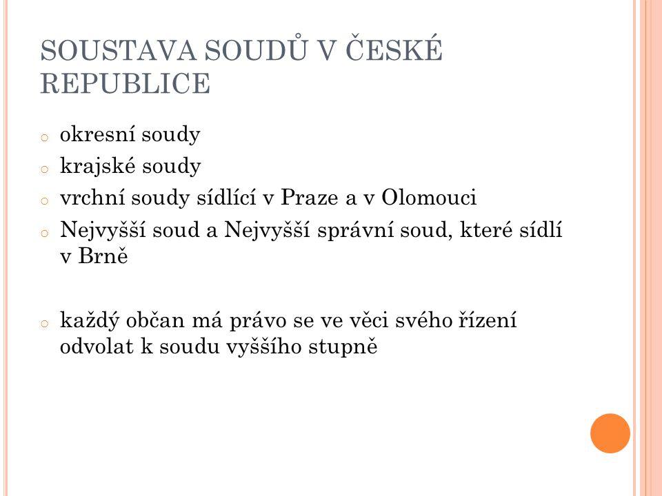 SOUSTAVA SOUDŮ V ČESKÉ REPUBLICE o okresní soudy o krajské soudy o vrchní soudy sídlící v Praze a v Olomouci o Nejvyšší soud a Nejvyšší správní soud, které sídlí v Brně o každý občan má právo se ve věci svého řízení odvolat k soudu vyššího stupně