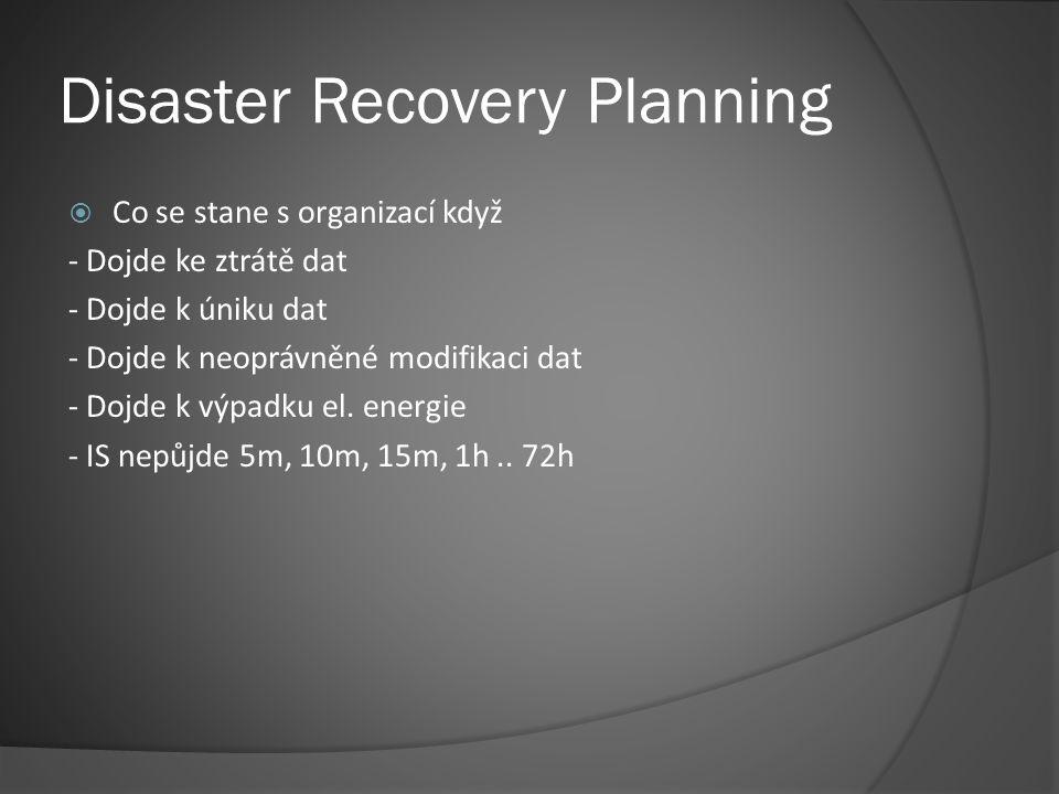 Disaster Recovery Planning  Co se stane s organizací když - Dojde ke ztrátě dat - Dojde k úniku dat - Dojde k neoprávněné modifikaci dat - Dojde k výpadku el.