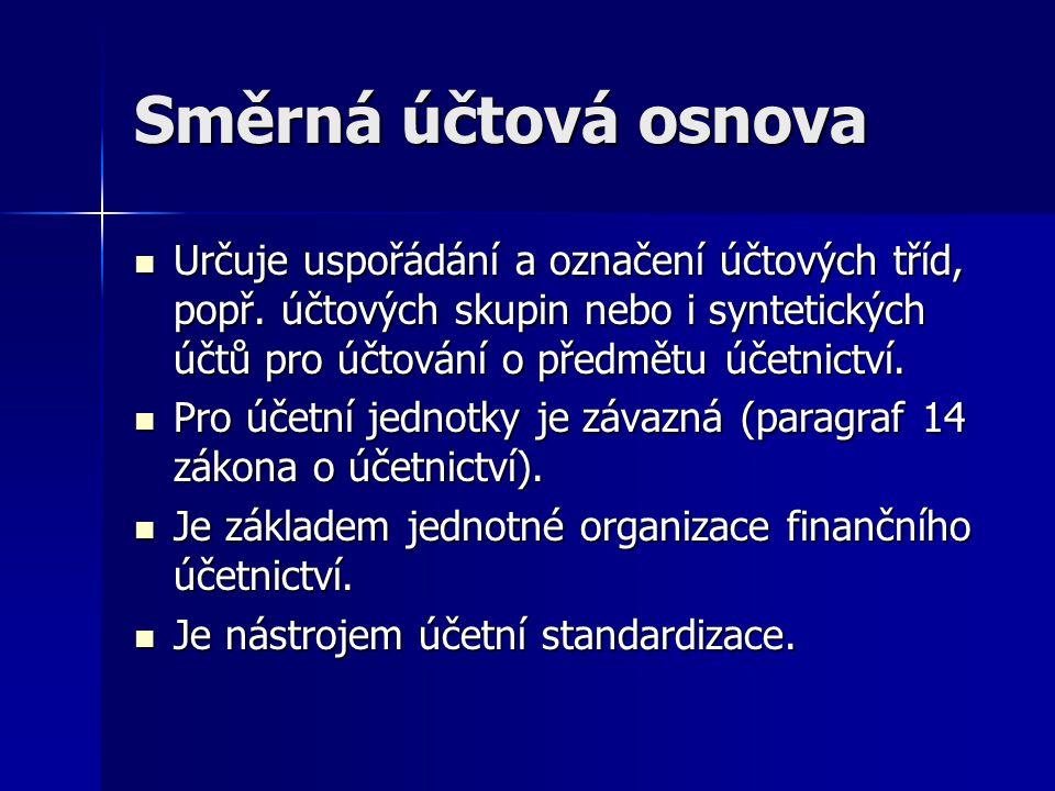 Směrná účtová osnova Určuje uspořádání a označení účtových tříd, popř. účtových skupin nebo i syntetických účtů pro účtování o předmětu účetnictví. Ur