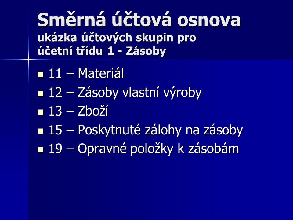 Směrná účtová osnova ukázka účtových skupin pro účetní třídu 1 - Zásoby 11 – Materiál 11 – Materiál 12 – Zásoby vlastní výroby 12 – Zásoby vlastní výr