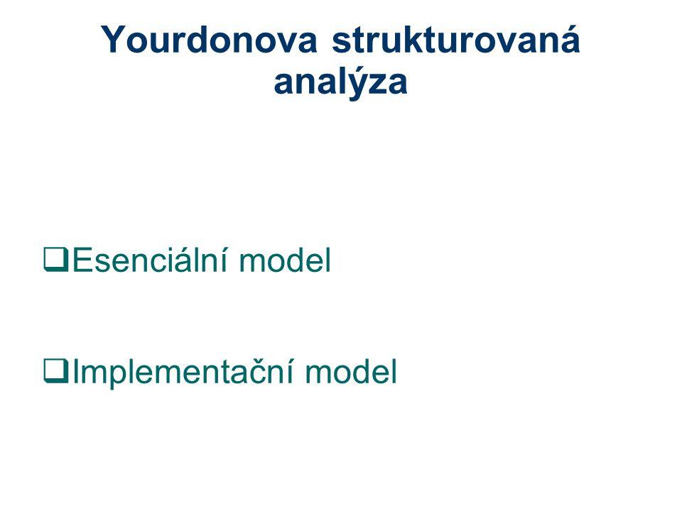 Transformační analýza 1.v DFD se postupuje od terminátoru po vstupních tocích směrem do vnitřních částí modelu do té doby, než data, která po těchto tocích plynou, nejsou zpracována 2.tok před samotným zpracováním se označí značkou 3.po výstupních tocích se postupuje od terminátoru v protisměru toku dat do středu diagramu 4.ve chvíli kdy se narazí na procesy, která data zpracovávají a ne jen formátují pro výstup, se poslední tok před vstupem do procesu označí 5.všechny označené toky se spojí křivkou a vzniklá podmnožina grafu, tvoří centrální transformaci DFD.