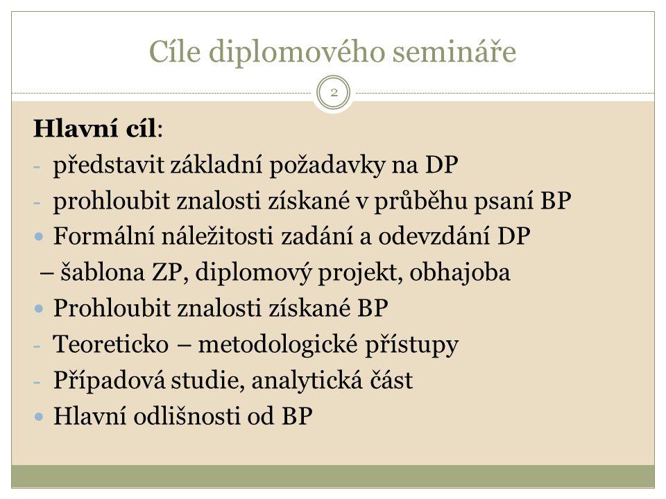 Cíle diplomového semináře Hlavní cíl: - představit základní požadavky na DP - prohloubit znalosti získané v průběhu psaní BP Formální náležitosti zadání a odevzdání DP – šablona ZP, diplomový projekt, obhajoba Prohloubit znalosti získané BP - Teoreticko – metodologické přístupy - Případová studie, analytická část Hlavní odlišnosti od BP 2