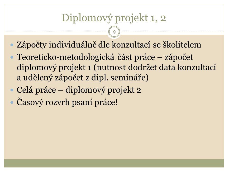 Diplomový projekt 1, 2 9 Zápočty individuálně dle konzultací se školitelem Teoreticko-metodologická část práce – zápočet diplomový projekt 1 (nutnost dodržet data konzultací a udělený zápočet z dipl.