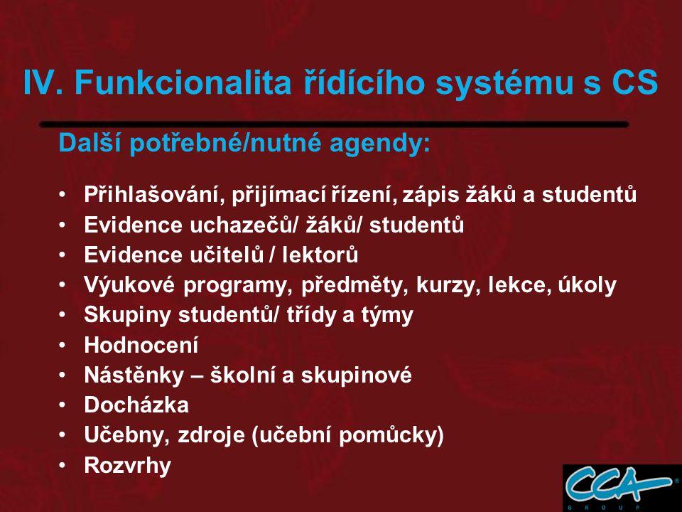 IV. Funkcionalita řídícího systému s CS Další potřebné/nutné agendy: Přihlašování, přijímací řízení, zápis žáků a studentů Evidence uchazečů/ žáků/ st