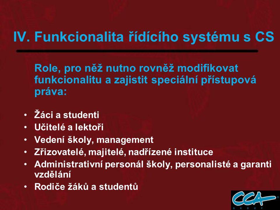 IV. Funkcionalita řídícího systému s CS Role, pro něž nutno rovněž modifikovat funkcionalitu a zajistit speciální přístupová práva: Žáci a studenti Uč
