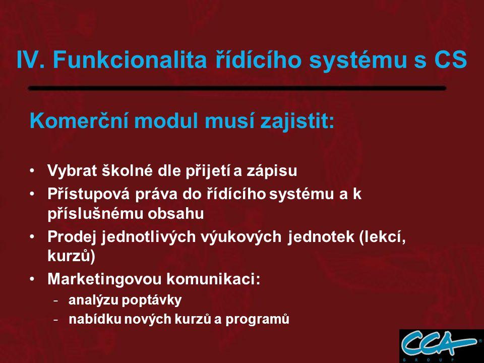 IV. Funkcionalita řídícího systému s CS Komerční modul musí zajistit: Vybrat školné dle přijetí a zápisu Přístupová práva do řídícího systému a k přís