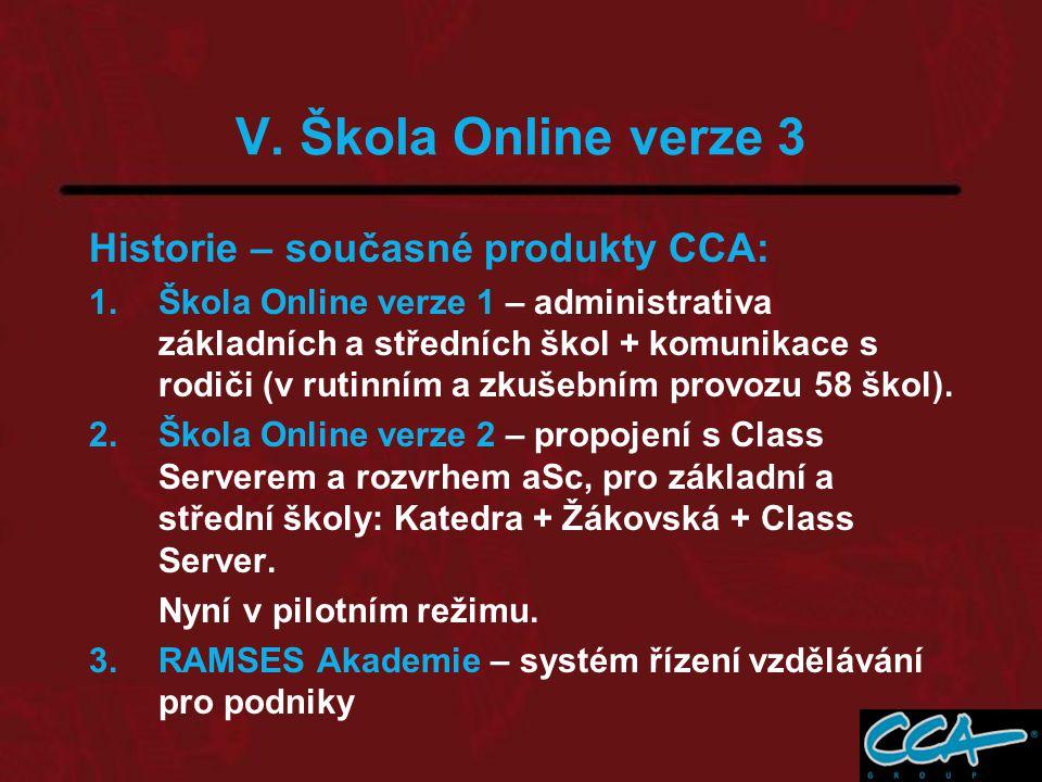 V. Škola Online verze 3 Historie – současné produkty CCA: 1.Škola Online verze 1 – administrativa základních a středních škol + komunikace s rodiči (v