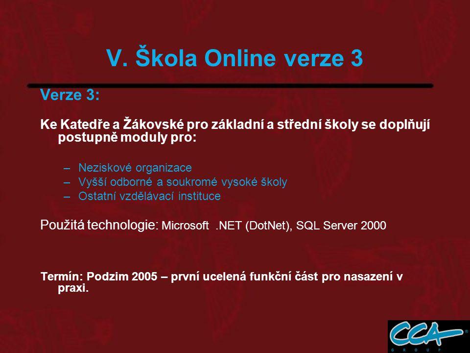 Verze 3: Ke Katedře a Žákovské pro základní a střední školy se doplňují postupně moduly pro: –Neziskové organizace –Vyšší odborné a soukromé vysoké školy –Ostatní vzdělávací instituce Použitá technologie: Microsoft.NET (DotNet), SQL Server 2000 Termín: Podzim 2005 – první ucelená funkční část pro nasazení v praxi.