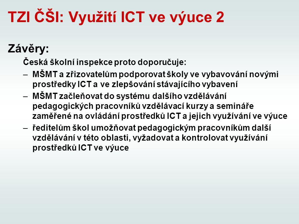 TZI ČŠI: Využití ICT ve výuce 2 Závěry: Česká školní inspekce proto doporučuje: –MŠMT a zřizovatelům podporovat školy ve vybavování novými prostředky