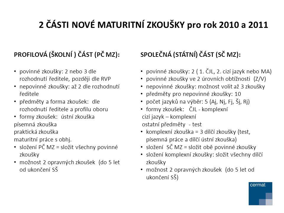 2 ČÁSTI NOVÉ MATURITNÍ ZKOUŠKY pro rok 2010 a 2011 SPOLEČNÁ (STÁTNÍ) ČÁST (SČ MZ): povinné zkoušky: 2 ( 1.