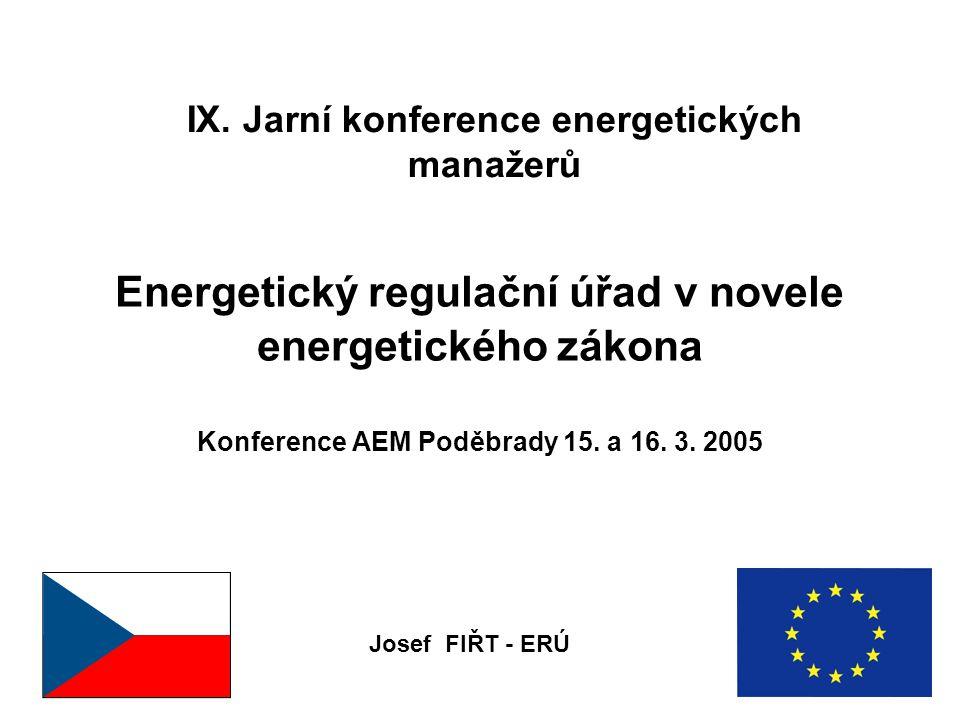 IX. Jarní konference energetických manažerů Energetický regulační úřad v novele energetického zákona Konference AEM Poděbrady 15. a 16. 3. 2005 Josef