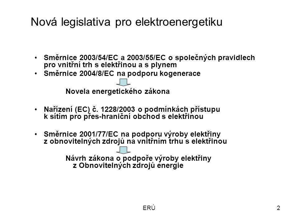 ERÚ2 Nová legislativa pro elektroenergetiku Směrnice 2003/54/EC a 2003/55/EC o společných pravidlech pro vnitřní trh s elektřinou a s plynem Směrnice 2004/8/EC na podporu kogenerace Novela energetického zákona Nařízení (EC) č.