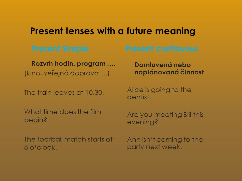 Present tenses with a future meaning Present Simple o Rozvrh hodin, program ….