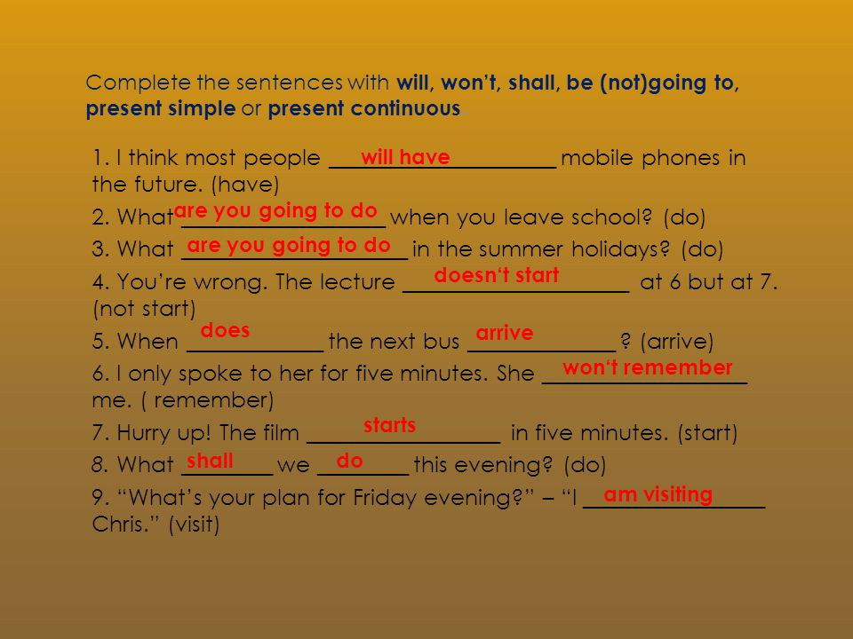 Complete the sentences with will, won't, shall, be (not)going to, present simple or present continuous.