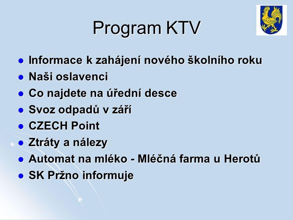 Program KTV Informace k zahájení nového školního roku Informace k zahájení nového školního roku Naši oslavenci Naši oslavenci Co najdete na úřední des