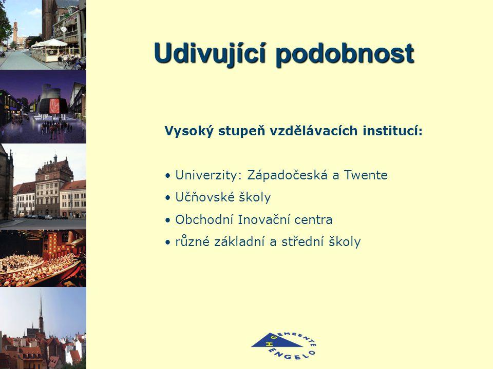 Udivující podobnost Vysoký stupeň vzdělávacích institucí: Univerzity: Západočeská a Twente Učňovské školy Obchodní Inovační centra různé základní a střední školy
