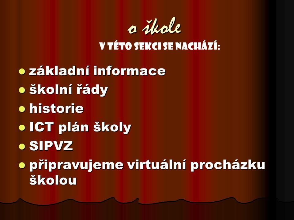o škole základní informace základní informace školní řády školní řády historie historie ICT plán školy ICT plán školy SIPVZ SIPVZ připravujeme virtuální procházku školou připravujeme virtuální procházku školou V této sekci se nachází: