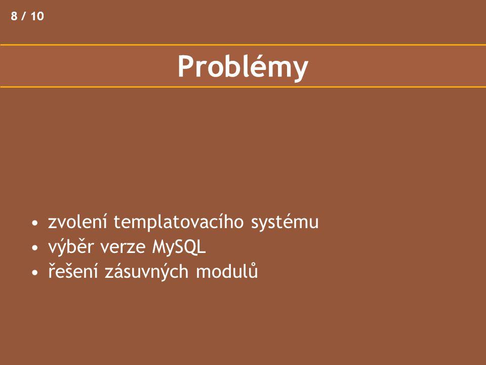 Problémy 8 / 10 zvolení templatovacího systému výběr verze MySQL řešení zásuvných modulů