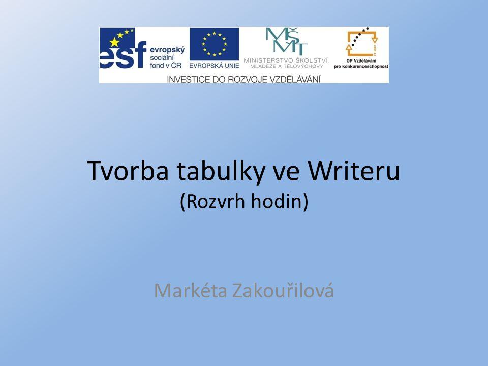 Tvorba tabulky ve Writeru (Rozvrh hodin) Markéta Zakouřilová