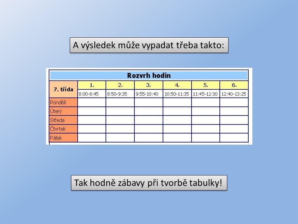 A výsledek může vypadat třeba takto: Tak hodně zábavy při tvorbě tabulky!